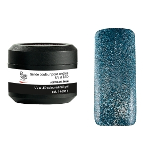 Coloured UV nail gel scintillant bleu 5g